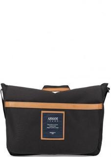 Черная сумка с откидным клапаном Armani Jeans