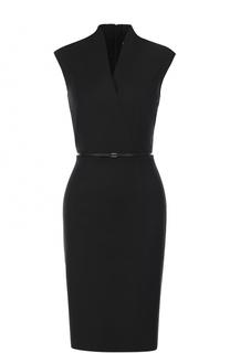 Приталенное платье-футляр с V-образным вырезом HUGO
