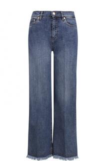 Укороченнеы джинсы свободного кроя с бахромой Escada Sport