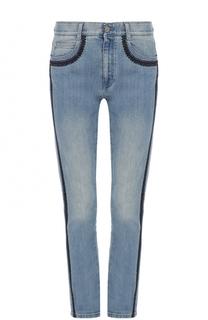 Укороченные джинсы с потертостями и лампасами Stella McCartney