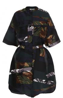 Шелковое мини-платье с поясом Kenzo