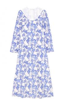Шелковое платье с цветочным принтом и прозрачной вставкой Francesco Scognamiglio