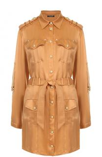 Платье-рубашка с поясом и погонами Balmain