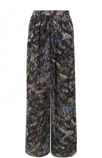 Шелковые широкие брюки с принтом Giorgio Armani