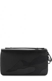 Кожаное портмоне с двумя отделениями на молнии Valentino