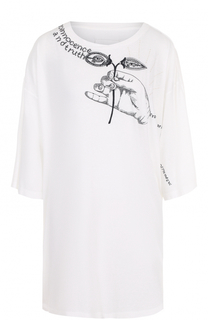 Удлиненная футболка свободного кроя с принтом Maison Margiela