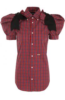 Блуза в клетку с рукавом-фонарик и бантами Dsquared2