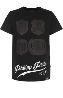 Хлопковая футболка свободного кроя с принтом Philipp Plein