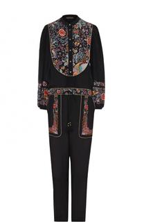 Шелковый комбинезон с цветочной вышивкой Roberto Cavalli