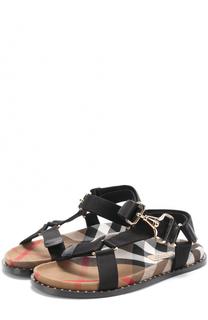 Текстильные сандалии с заклепками на ранте Burberry