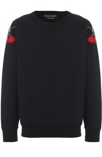 Хлопковый свитшот с контрастной вышивкой Alexander McQueen