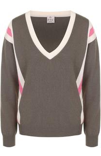 Пуловер с контрастной отделкой и V-образным вырезом FTC