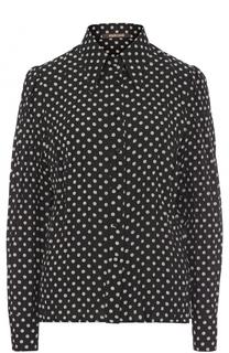 Шелковая приталенная блуза в горох Roberto Cavalli