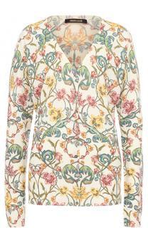 Кардиган с V-образным вырезом и цветочным принтом Roberto Cavalli