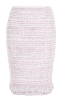 Буклированная мини-юбка с бахромой St. John