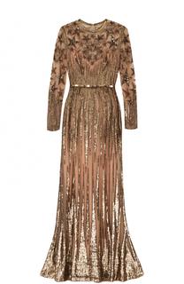 Платье-макси с поясом и пайетками Elie Saab