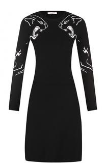 Вязаное платье с длинным рукавом и принтом Valentino