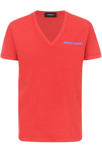 Хлопковая футболка с V-образным вырезом Dsquared2