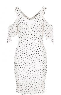 Мини-платье в горох с открытыми плечами MCQ