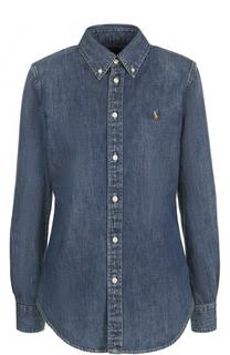 Приталенная джинсовая блуза с логотипом бренда Polo Ralph Lauren