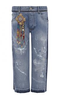 Укороченные джинсы с потертостями и декоративной отделкой Dolce & Gabbana