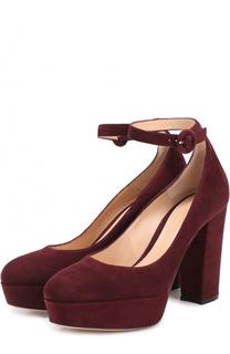 Замшевые туфли Sherry на массивном каблуке и платформе Gianvito Rossi