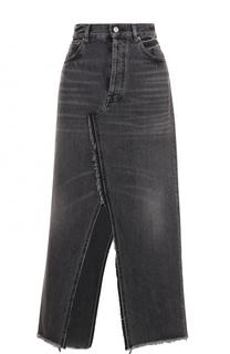 Джинсовая юбка-миди с высокими разрезами Golden Goose