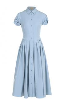Платье-рубашка с коротким рукавом и юбкой в складку Michael Kors