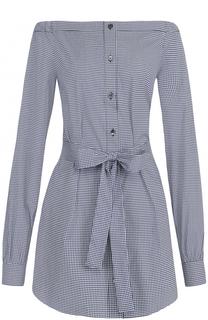 Удлиненная блуза с поясом и открытыми плечами Michael Kors