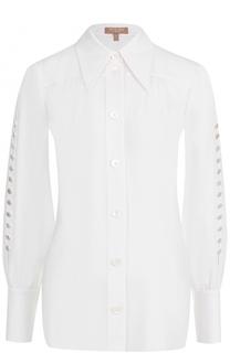 Приталенная шелковая блуза с декорированными рукавами Michael Kors
