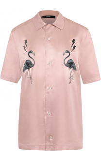Рубашка с короткими рукавами и контрастной вышивкой Diesel