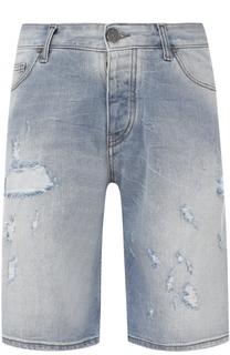 Джинсовые шорты свободного кроя с потертостями Armani Jeans