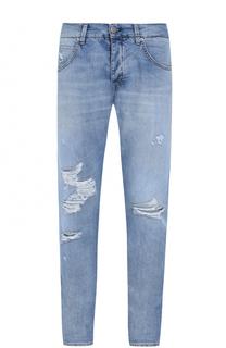 Джинсы прямого кроя с декоративными потертостями 2 Men Jeans