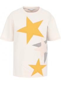 Хлопковая футболка с нашивками в виде звезд Stella McCartney