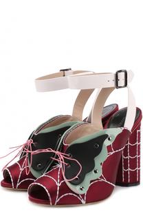 Атласные босоножки с декоративной отделкой Marco de Vincenzo