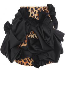 Мини-юбка с леопардовым принтом и декоративной отделкой Dsquared2
