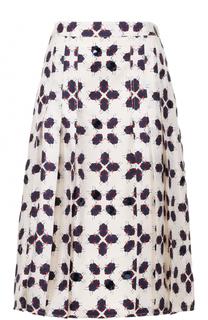Шелковая юбка в складку с принтом Tory Burch