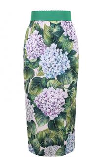Шелковая юбка-карандаш с цветочным принтом Dolce & Gabbana