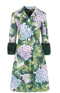 Пальто с цветочным принтом и норковой отделкой Dolce & Gabbana