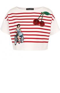 Укороченный топ в контрастную полоску с вышивкой Dolce & Gabbana