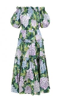 Платье с открытыми плечами и цветочным принтом Dolce & Gabbana