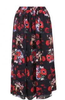 Шелковая юбка-миди с цветочным принтом Kenzo