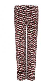 Шелковые брюки прямого кроя с принтом Marni