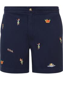 Хлопковые шорты с контрастной вышивкой Polo Ralph Lauren