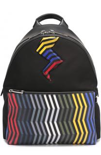 Текстильный рюкзак с отделкой из натуральной кожи Fendi