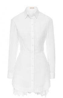 Приталенная хлопковая блуза с декорированной спинкой Alaia