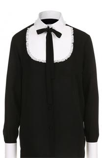 Шелковая блуза с контрастной отделкой и воротником аскот Valentino