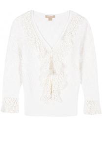Пуловер с укороченным рукавом и оборками Michael Kors