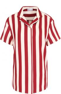 Хлопковая блуза в полоску с коротким рукавом REDVALENTINO