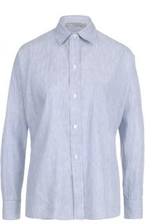 Льняная блуза свободного кроя в полоску Vince